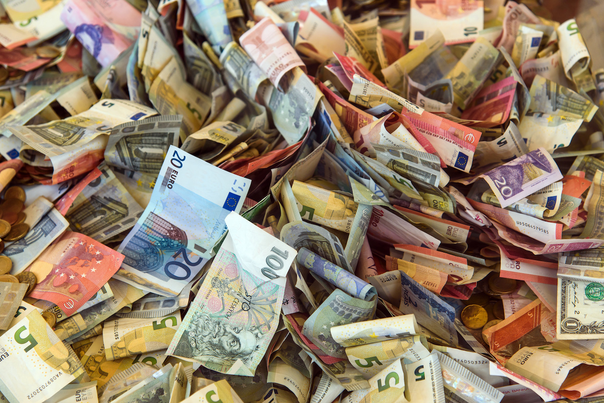 background of various european money